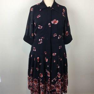 eshakti Navy and Rose Beautiful Plus Size Dress